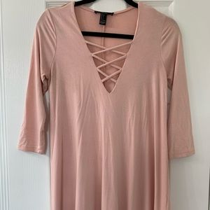 Pink Lace-Up Long sleeve Dress